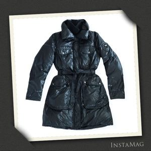ADD DOWN Glossy Pillow Collar Belted Puffer Coat